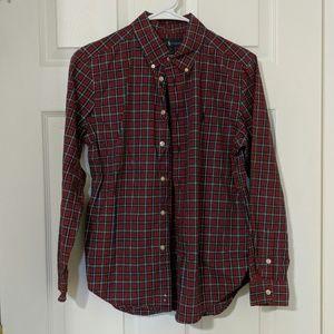Ralph Lauren Red Blue Plaid Button Up Size L 14-16